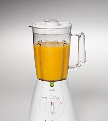 Moulinex Faciclic - Batidora de vaso, 400 W, jarra plástico de 1.25 L, 2 velocidades, color blanco