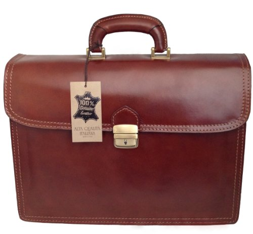 CTM Borsa Uomo Marrone 24 ore porta documenti, 41x31x18cm, Vera Pelle 100% Made in Italy
