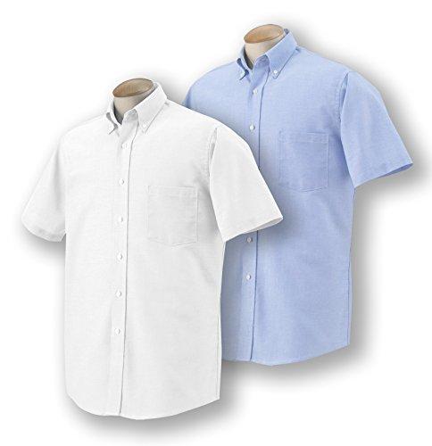 Mens Short Sleeve Oxford Shirt (Van Heusen Men's Short-Sleeve Oxford Dress Shirt, 1 Oxford Blue + 1 White, X-Large)