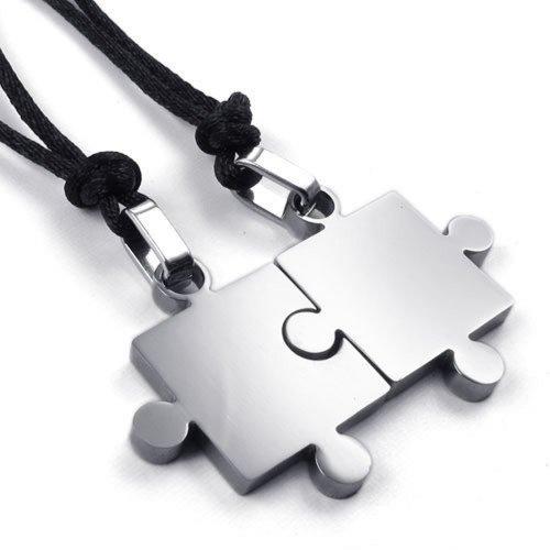 KONOV Schmuck 2 Freundschaftsketten Puzzle Edelstahl Partner-Anhänger mit Schwarz Seil Kette, Halskette für Damen & Herren, Silber