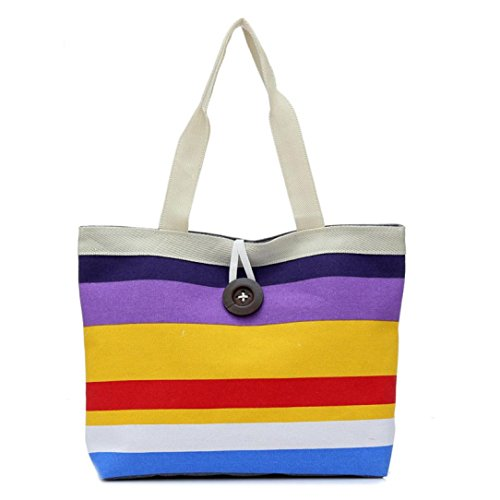 Oyedens Frauen Farbige Streifen Handtasche Schulter Tasche Taschengeldbeutel Einkaufen Lila