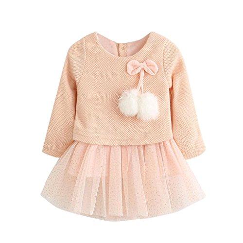 Kobay Kleinkind Baby Kind Mädchen Lange Ärmel gestrickt Bow Newborn Tutu Prinzessin Kleid 0-24M (80/6-12Monat, Rosa)