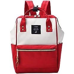 LZH-backpack Mochila de Lona de Gran Capacidad Bolsa versátil de Moda Mochila de Gran tamaño Japonesa Harajuku Style Repelente de Agua (Color : Red)