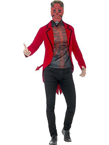 Smiffys Herren Tag der Toten Teufel Kostüm, Jacke, Oberteil und Maske, Größe: XL, ()