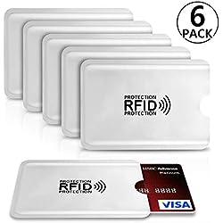 PAMIYO Protecteur de Carte Porte-Monnaie Anti RFID FRAUDE Etui Carte Bancaire Anti Piratage,Étui protége des Cartes de crédit Carte Bleue sans Contact (6 Pack RFID Pochette Protection Porte Carte)
