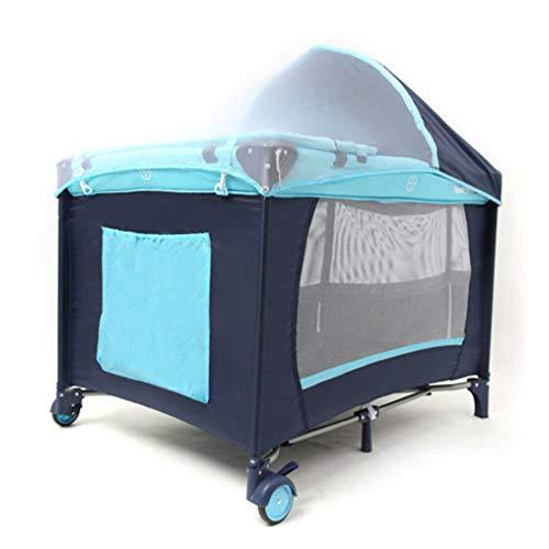 Designs Krippe (SXFYGYQ Faltbare Krippe Gesundheits- und Umweltschutz Spielbett Etagenbett-Design mit insektensicheren Netzen Krippe,A)
