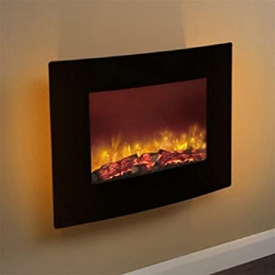 Be Modern Quattro Curved Black Glass Wall Mounted LED Electric Fire