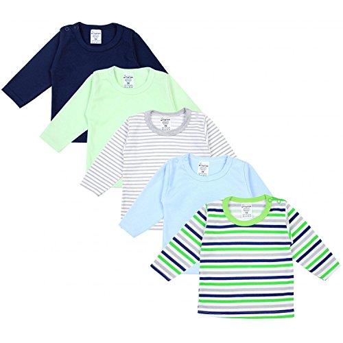 TupTam Baby Jungen Langarmshirt Baumwolle Gestreift 5er Set, Farbe: Mehrfarbig, Größe: 62 (T-shirt LangÄrmeliges Set)
