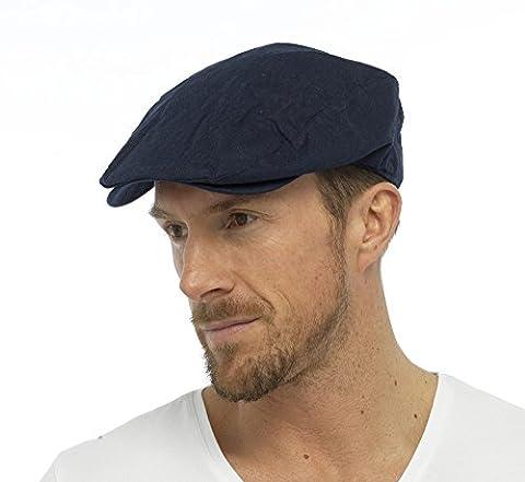 Tom Franks Mens Cotton Linen Lightweight Vintage Style Flat Cap (M/L) Navy