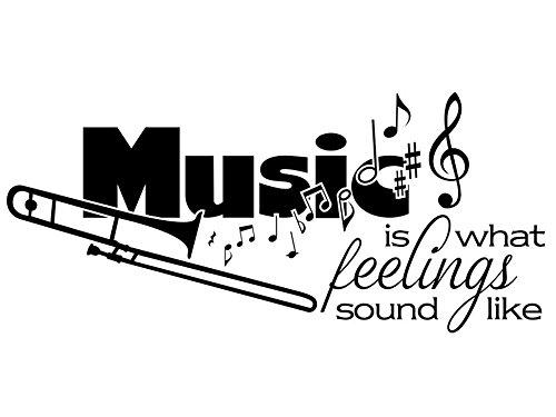 Wandtattoo-bilder® Wandtattoo Music is what feelings sound like Nr 1 Wandsticker Musik Wandaufkleber Wandsticker Musikaufkleber Musiksticker Farbe Violett, Größe 160x71