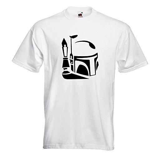 KIWISTAR - Boba Fett Helm 2 T-Shirt in 15 verschiedenen Farben - Herren Funshirt bedruckt Design Sprüche Spruch Motive Oberteil Baumwolle Print Größe S M L XL XXL Weiß