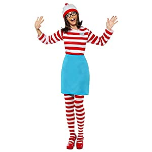 Smiffys Women's Where's Wally? Wenda Costume, Top, Skirt, Glasses, Tights & Hat, Size: X1, Colour: Red and White, 39504