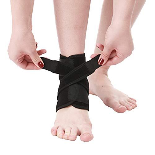 GODGETS Fußbandage mit Stabilisatoren Sprunggelenkbandage Knöchelbandage Verstellbare Fußgelenkbandage mit Klettverschluss Schwarz