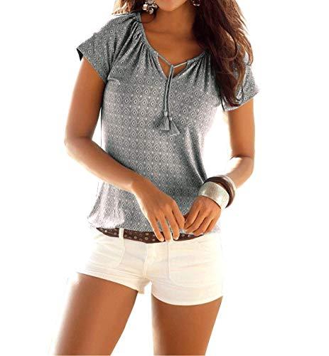Fleasee Damen T-Shirt wie Locker Neckholder Bluse Allover Druck Shirt Basic Tee Lässig Sommer Oberteile