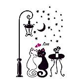 Mengonee Katzen-Mond-Stern-Licht-Wand-Kunst-Aufkleber-entfernbare PVC-Wand-Tattoo-Abziehbilder Wohnzimmer Tapete