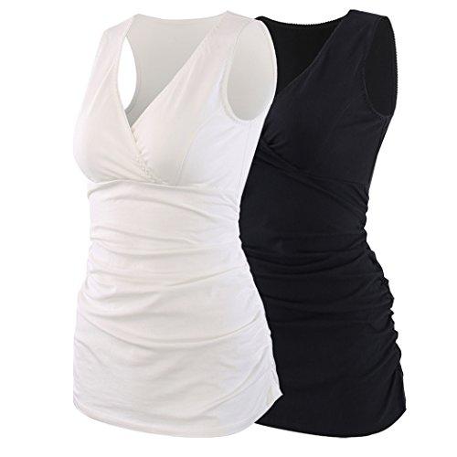 ZUMIY Still-Shirt/Umstandstop, Schwangeres Stillen Nursing Schwangerschaft Top Umstandsmode Unterwäsche (M, Black+White/2-pk)