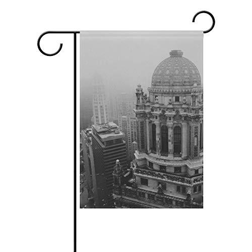 DEZIRO Chicago City Wolkenhof Flaggen Gartenflagge doppelseitig Dekorative Flagge, Polyester, 1, 28x40(in)