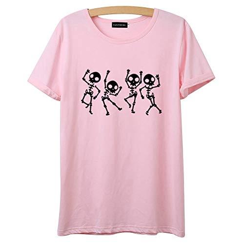 Queenromen Damen Halloween Kostüm Kürbis Maske Grusel Gift T-Shirt Party Sommer Tops(S Pink)