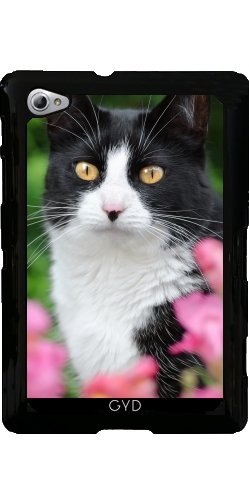 Custodia per Samsung Galaxy Tab P6800 - Nero Gatto Bianco Fiori Rosa by Katho Menden