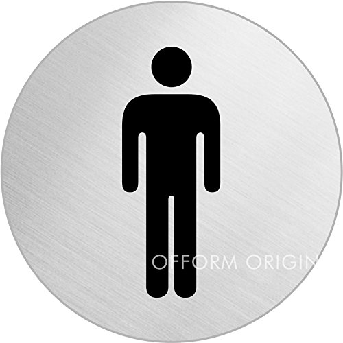 Male Toilet Symbol Polished Stainless Sign 75mm