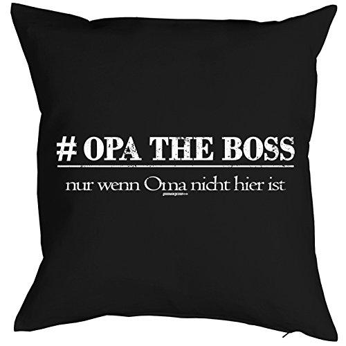 Spaß-Kissen/Deko/Fun-Kissen mit Füllung für Großväter: # Opa the Boss - nur wenn Oma nicht hier ist - tolle Geschenkidee