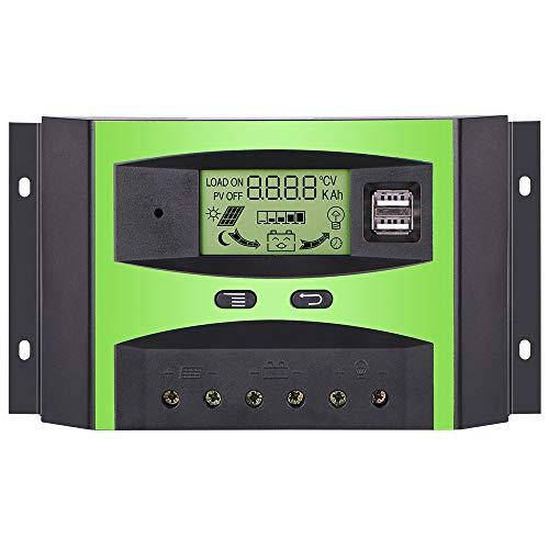 GIARIDE 30A 24V 12V Pannello Solare Regolatore Intelligent Carica Batteria Regolatore Solare Controllore con USB Display LCD Auto Protezione da Sovraccarico Compensazione Della Temperatura