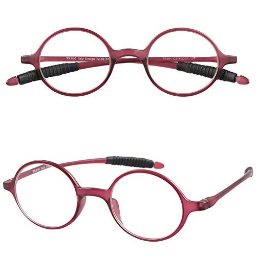 VEVESMUNDO Gafas de Lectura Mujer Hombre Vintage Redondo Flexibles Pequeñas Leer Vista Presbicia Graduadas Lejos 1.0 1.5 2.0 2.5 3.0 3.5 4.0
