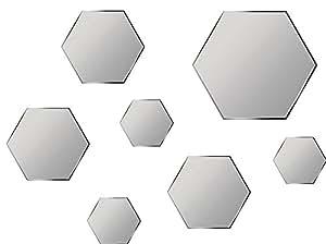 Specchi decorativi esagonali da parete 7 pezzi fissaggio adesivo specchio esagonale - Specchi da parete amazon ...