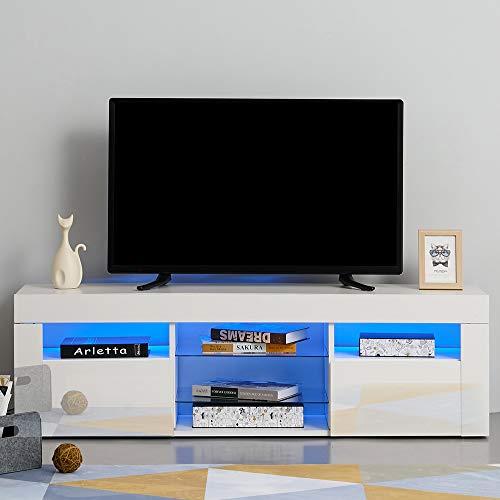 MMT HT01 Wei/ß Hochglanz TV Unterschrank f/ür 40 49 50 55 65 Zoll 4K TV 140cm breit vollglanz