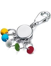 Troika - Porte-Clés PATENT - Chrome Brillant - Design Rond et Coloré - 5 Anneaux Interchangeables