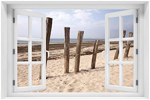 Wallario Acrylglasbild mit Fenster-Illusion: Motiv Sandstrand mit Holzpfählen am Atlantischen Ozean - 60 x 90 cm mit Fensterrahmen in Premium-Qualität: Brillante Farben, freischwebende Optik