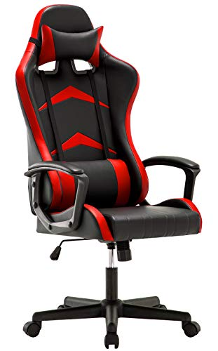 IntimaTe WM Heart Gaming Stuhl, Bürostuhl mit verstellbarem Kopfkissen und Lendenkissen, Ergonomischer Schreibtischstuhl, Racingstuhl Mir hoher Rückenlehne (Rot)