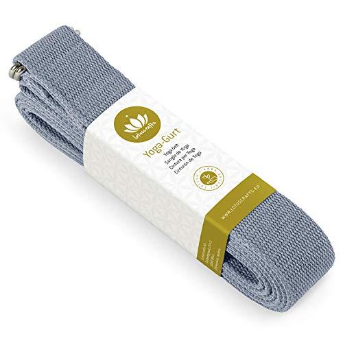 Lotuscrafts Yogagurt - 100% Baumwolle (KBA) - für bessere Dehnung - für Anfänger und Fortgeschrittene - Yoga Gurt mit Verschluss aus Metall [250 x 3,8 cm]