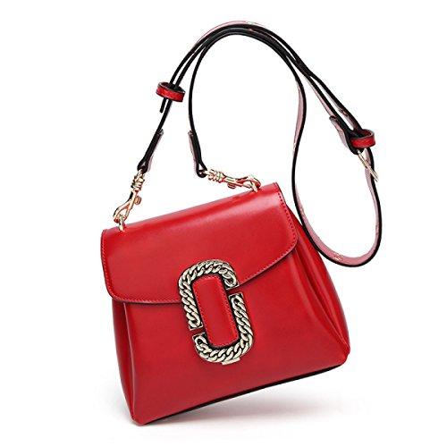 Borsa A Tracolla Donna Diagonale Pacchetto Donna In Pelle Retro Cerata Olio Moda Donna Da Viaggio Tempo Libero Outdoor Rosso