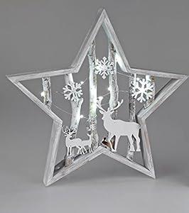 Formano Deko-Stern mit LED-Licht ca.40cm aus weissem Holz