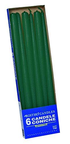 velas cónicas para candelabro (Cera, verde oscuro, 2.2x 40cm), 6unidad