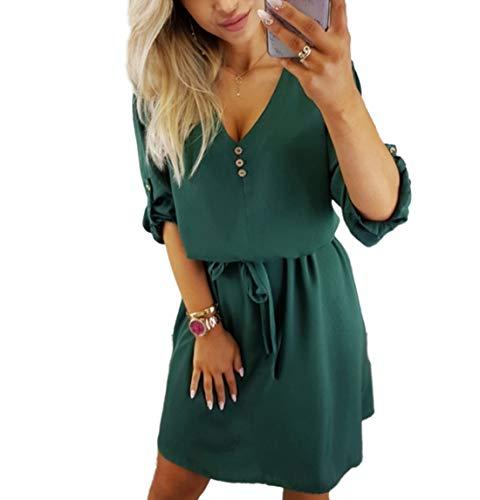 Samhuiyuan Kleid Damen Langarm V Ausschnitt Lose Elegant Tshirtkleid Geraffte Kleider (S, Grün) -
