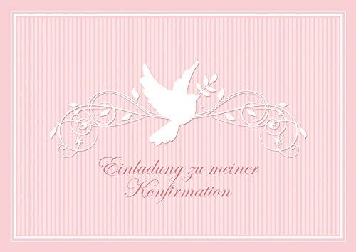 fioniony Konfirmationskarte Einladung zu meiner Konfirmation schöne Einladungskarte zur Konfirmation Klappgrußkarte für EIN Mädchen in Rosa mit einem Ornament und Taube (Mit Umschlag) (1)