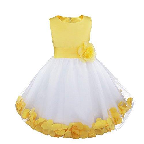 Freebily Blumenmädchen Kleider Mädchen Festliches Tutu Kleid Hochzeitkleider Kinder ärmellose Partykleider Chiffon Festzug Kleidung Gr. 92/164 Gelb 128 (Satin Kleid Ärmelloses)