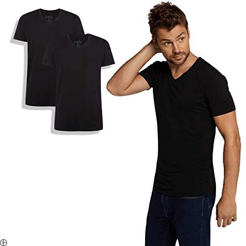 Bamboo Basics | Bambus T-Shirt | Velo | V-Ausschnitt | 2er-Pack | Extra weich und Atmungsaktiv | Farbe: schwarz | Größe: M 2er Pack Bambus