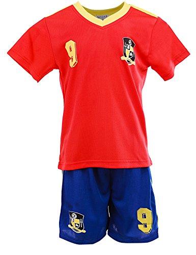 24brands - Jungen Fußball Set 2 Teilig Trainings Trikot Deutschland Italien Brasilien Spanien Türkei Schweiz Ländertrikot - 2630, Größe:152;Farbe:Spanien - Italien Fußball-shirts