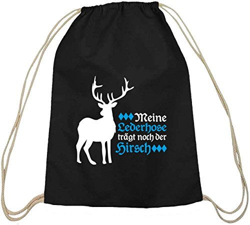 natur Turnbeutel mit Meine Lederhose trägt noch der Hirsch Motiv, Größe: onesize,schwarz natur ()