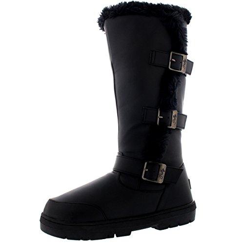 Holly Damen Hoch Three Buckle Pelz Gefüttert Wasserdicht Winter Regen Schnee Sitefel - Schwarz Leder - UK6/EU39 - BA0473 (Gefüttert Leder Pelz)