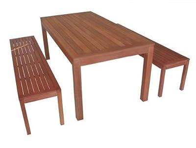3-teiliges Gartenset LOFT, 1x Tisch 160cm + 2x Bank 150cm, Eukalyptus, FSC®-zertifiziert