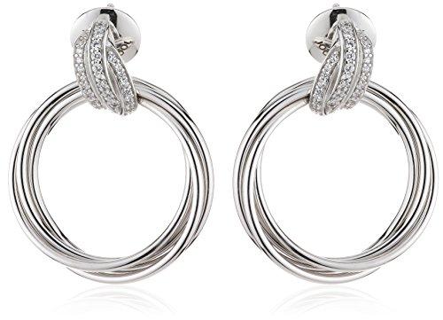 Joop Damen-Ohrstecker 925 Sterling Silber Zirkonia Embrace 3.1 cm weiß JPER90300A000