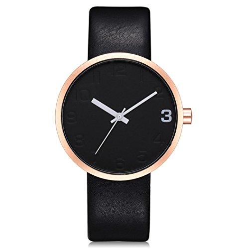 Preisvergleich Produktbild Dragon868 Damen Herren Armbanduhr Einfache Männer Runde Herren Retro Business Lederband Uhr (B)