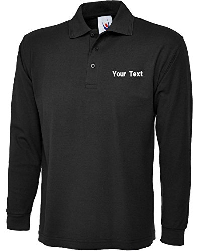 swagwear Embroidered Your Text Logo Personalised Unisex Classic Long Sleeve Polo 7 Colours (XS-4XL) 113 by
