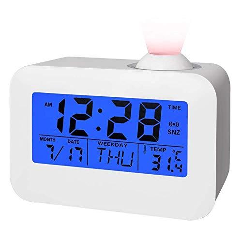 Manfore Digitaler Wecker mit Projection/Projektionswecker mit Temperaturalarm/Snooze/Tag/Datum Anzeigen Digitale Bettseite Wecker