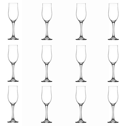 La-V LAV NEVAKAR Verre Champagne Tulipes – 195 ML – Lot DE 12 Verres à vin flûtes à Champagne