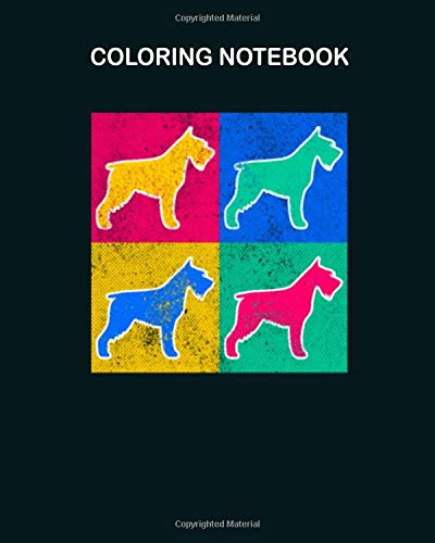 Coloring Book: colorful schnauzer dog art 64 pages - 8 x 10 inches -